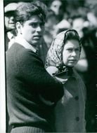 Queen Elizabeth II and Prince Andrew at the Badminton Horse Trials. 1980.