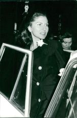 Princess Soraya of Iran getting out of car.
