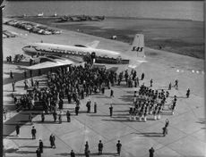 The plane at Kastrup airport during the inauguration of the new airroute Tokio via the Northpole by SAS (Scandinavian Airlines System)