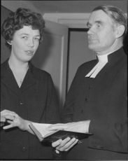 Miss Åse Harrefors along with Reverend Helge Backman during missionary opening in Betesdakyrkan