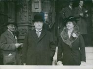 Mr. and Mrs. Baldwin leaving Caxton Hall Westminster after recording their votes on November 14, 1935.