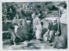 This picture shows, King Gustav Adolf at work on the excavations. Swedish King.
