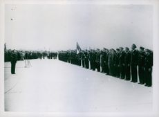 General view of the ceremonial. Welcome given to the returning crewsbat Le Bourget Aerodrome.