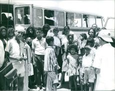 Refugees arrived by a bus in Egypt. 1967.