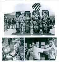 "Art LaFleur, Lori Petty, Pauly Shore, David Alan Grier and Andy Dick starring in a 1994 American war comedy film, ""In the Army Now."""