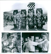 """Art LaFleur, Lori Petty, Pauly Shore, David Alan Grier and Andy Dick starring in a 1994 American war comedy film, """"In the Army Now."""""""