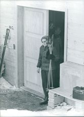 Princess Beatrix going out for skiing.