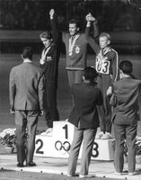 Awarding of the winners with their medal during the 1964 Summer Olympics in Tokyo Japan.
