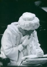 Queen Juliana crying during the funeral of Queen Wilhelmina of the Netherlands, 1962.
