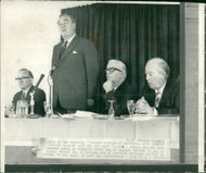 Viscount William Whitelaw speaking at the conference