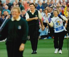 Golf player Nick Faldo with his Swedish caddy Fanny Sunesson during the Ryder Cup in 1993