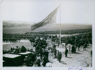 A striking photograph showing the huge mass of troops passing in the review before his Majesty.