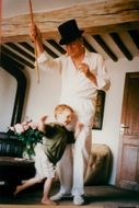 Yves Montand plays with the son Valentin