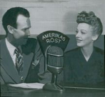 "Ruben Karlstedt interviews Signe Hasso in the radio program ""America's Voice"""