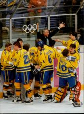 Olympic Games in Lillehammer - Ice Hockey Finals Sweden - Canada. Cheer for victory