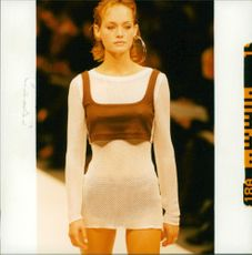 A woman wearing a white see through long sleeve.