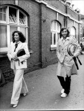 Bianca Jagger and Ilie Nastase at a professional celebrity tennis match