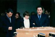 Danielle Mitterand surrounded by her brother Jean-Christophe and Gilbert during the husband's hometown