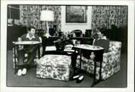 US President Ronald Reagan and his wife Nancy eat TV dinner in the family room in the White House