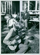 Politician Willy Brandt having bonding with his family, 1967.