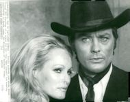 "The actors Ursula Andress and Alain Delon during the filming of the movie ""Blood Red Sun"""
