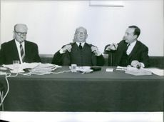 "Michel Debré, Guy Mollet and Edgar Faure having a panel discussion.  ""Guy Mollet, Edgar Faure and Michel Debré""  1962"