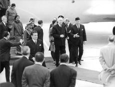 Pres. Mohammed Ayub Khan of Pakistan welcoming Charles de Gaulle. 1967.