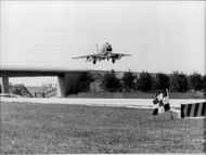 A German military plan lifts from the Autobahn, which is used as an emergency landing course.