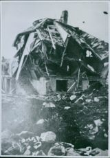 """View of a damaged building in Norway.  """"Norway""""  1940"""