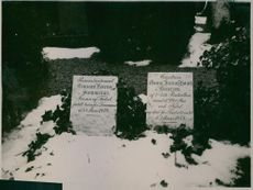 Memorial structures covered with snow.