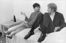 Geraldine Chaplin sitting with a man.