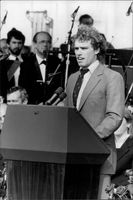 Joseph Kennedy speaks at the inauguration of the John F. Kennedy Library in Boston