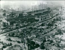 High angle view of a city, smoke coming out of the chimney.  Taken - 27 Dec. 1972