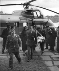 Helicopter transport of ill person