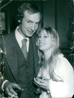 Actress Melanie Ackland and her husband Alistair Cameron, photographed at their wedding in London. 1974