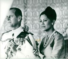 Prince Philip is seen here with Queen Sirikit during the state visit to Thailand