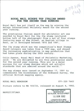 Royal Mail Scoops Top Italian Award.