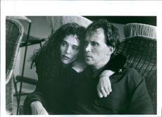 "Judy Davis and Peter Weller in a scene from the film ""The New Age""."