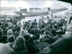 Nguyen Cao Ky being welcomed by the people at the airport. 1968