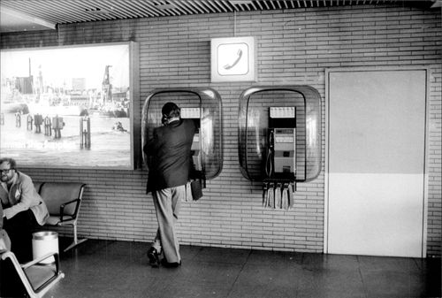 Telephone communication at the airport.