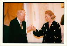 Boris Yeltsin and Queen Paola of Belgium at the State Visit in Russia.