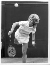 Steffi Graf serves during a match in Wimbledon in 1987.