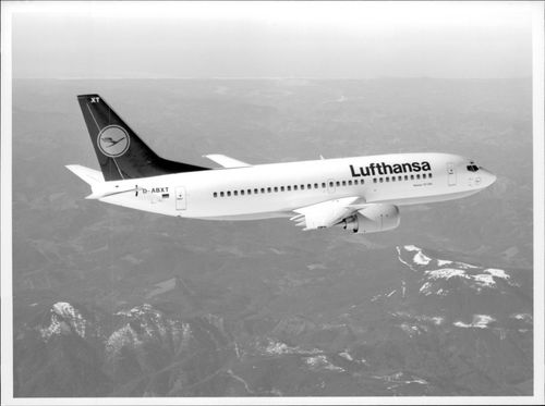 """A Boeing 737-300 """"City Jet"""" belonging to Lufthansa in the air."""