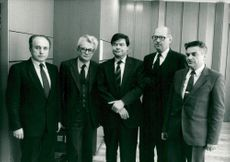 Vadim Solomenko, Albert Vlasov, Ambassador Boris Pankin, Oleg Bykov and Viktor Ivanov appear in the Soviet embassy in Stockholm