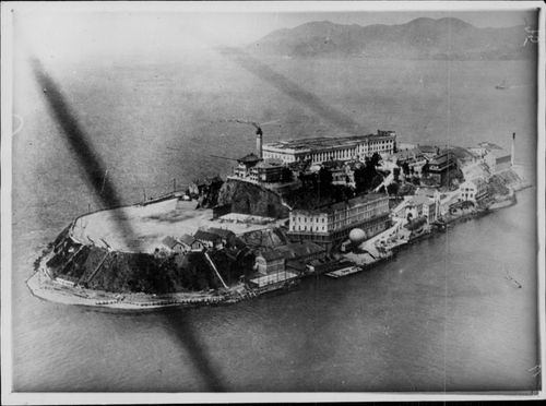 Aerial view of the Alcatraz prison.