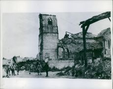 A ruined place in France during World War I, 1918.
