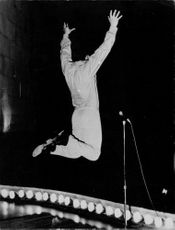Frank Alamo on stage, jumped in the air, 1966.