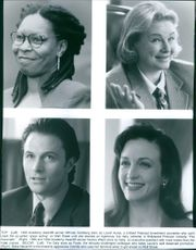 """Portraits of Whoopi Goldberg as Laurel Ayres, Dianne Wiest as Sally Dugan, Tim Daly as Frank Peterson and Bebe Neuwirth as Camille Scott in the film """"The Associate"""", 1996."""