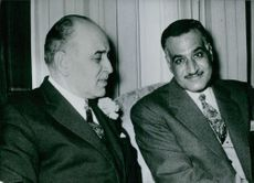 President Nasser of the United Arab Republic pictured with M. Saeb Salem, Prime Minister of Lebanon (left).