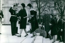 Alexei Kosygin stepping up with Claudia Andreyevna Krivosheina and other people, 1966.